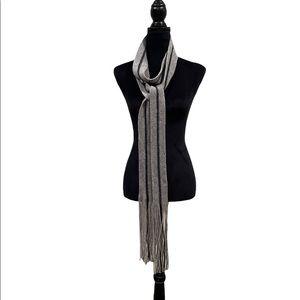 NWOT Club Monaco 100% lambs wool skinny thin unisex long scarf grey black